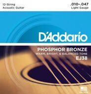 Струны D'Addario EJ38 12-string Phosphor Bronze Light 10-47